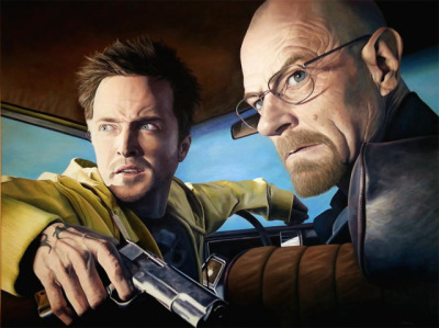 laughingsquid:  'Breaking Bad' Painting of Walter and Jesse by Scott Mitchell  Probably the only thing I'm anticipating from summer.
