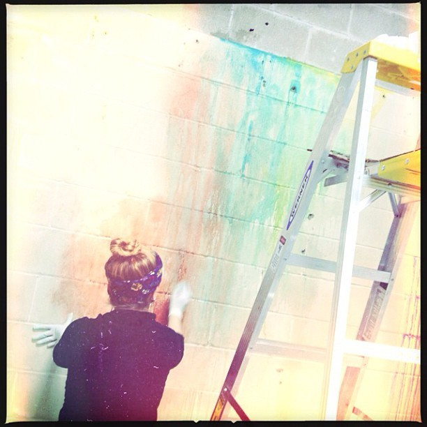 Our intern Alida prepping our studio walls for the #Spring2013 catalog!! #organicfashion #soulflower  (at Soul Flower)