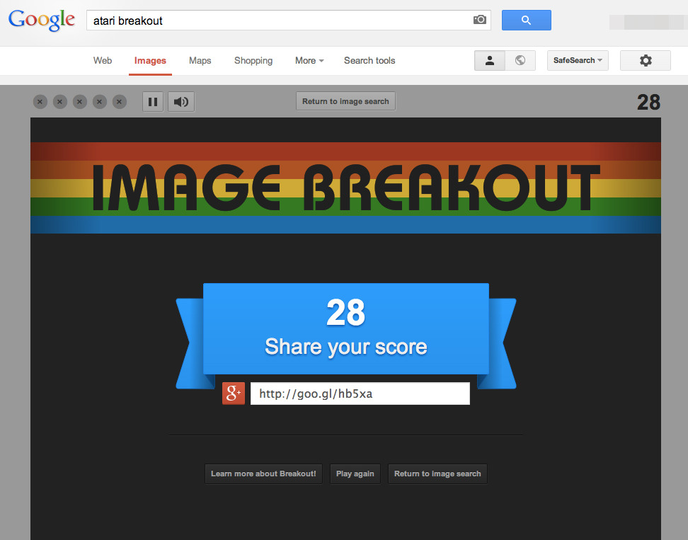 "Easter egg: type in ""atari breakout"" in google image search."