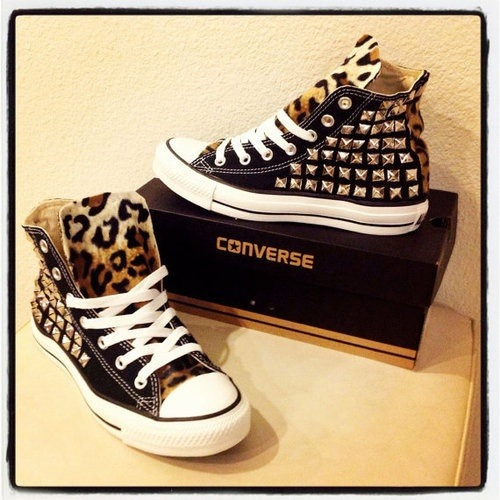 Black and leopard studded Converses. LOVE.
