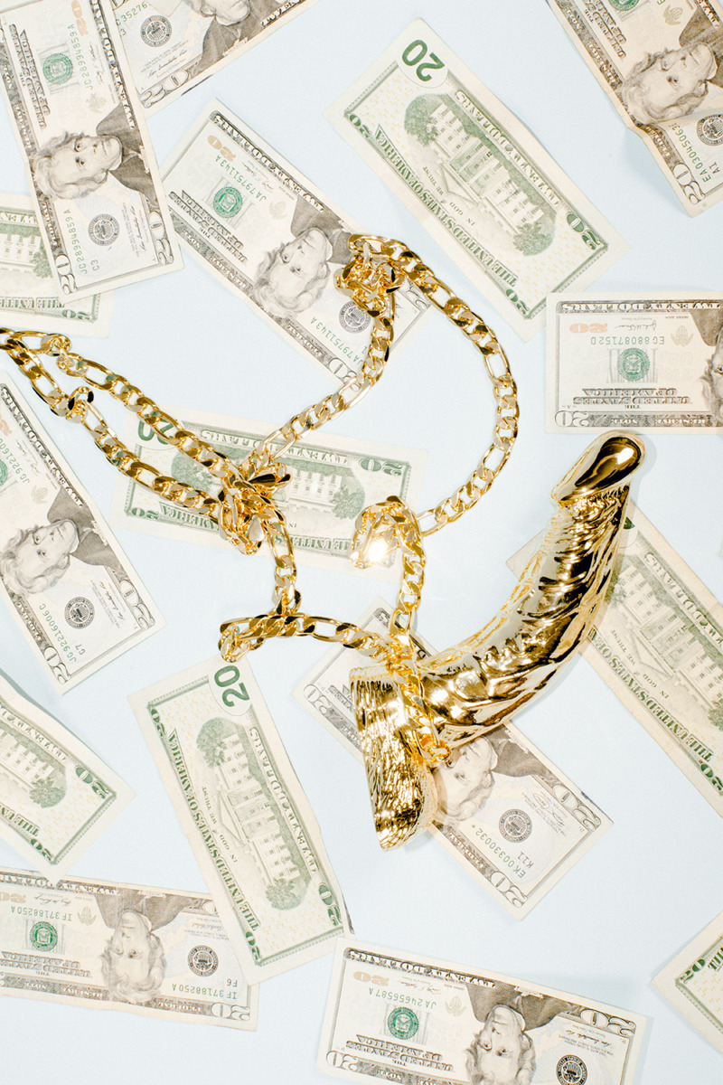 harrygouldharveyiv:  Golden cock necklace / 20 dollar billsProvidence RI, 2013Jewelry by : Leslie Boyd