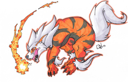 I finished that sketch!   I got a Arcanine in my Black 2 game, I named him ShiShi. Flame wheel has always been on of my fave attacks, I don't really know why. Arcanine © Nintendo/Game Freak Art © QuickNick