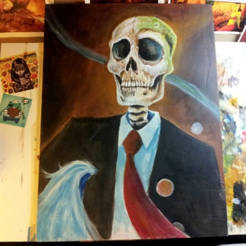 Back to work on this #painting after a long break. #skull #skeleton #lowbrow #surrealism #kustom #art