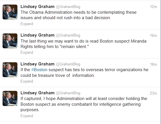 This is the official twitter for Senator Lindsey Graham. This is Lindsey Graham arguing we should violate the constitutional protections given to all suspects. This is Lindsey Graham being an imperial asshole.