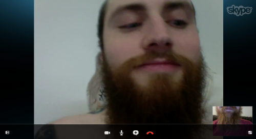 Skype beard snuggles with Travis.
