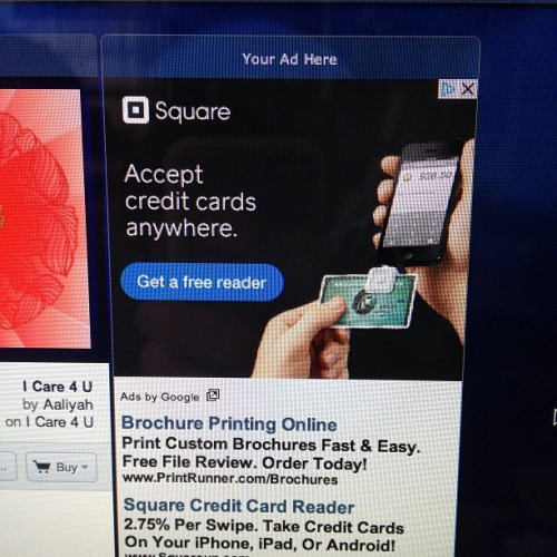 Listening to some @Pandora_Radio, and this @Square ad pops up. Wondering why the card reader is plugged into the bottom of the iPhone. #weird #mad #designer? #maybe