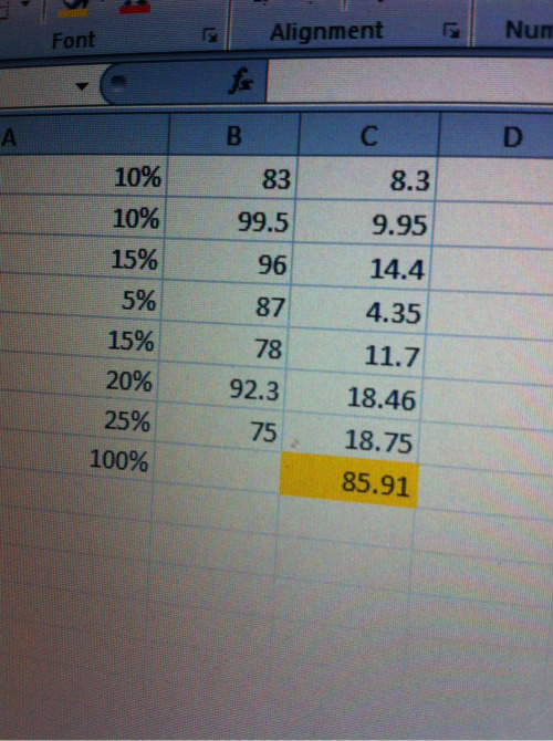 Calculating my own grades… B in science -___-