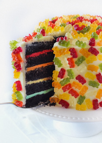 bakeddd:  gummy bear layer cake click here for recipe