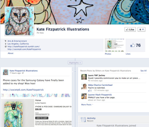 I'm on facebook now! It's a brand new page but I'll be posting different pics and updates on there than on here so you can follow both pages without it being repetitive.
