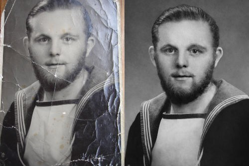 Restored Faith in Humanity of the Day: Reddit Restores WWII Veteran's Damaged Navy Photo Back in April, at the request of his 87-year-old grandfather, Redditor stevieboy1984 turned to the /r/PicRequests subreddit to see if anyone could clean up a scanned JPEG image file of his grandfather's World War II-era photo taken during his service in the Navy as a submarine sonar/radar operator. After a number of people offered their photoshop wizardries to help its restoration, stevieboy1984 showed his grandfather six variations before handing him a framed version of top commenter unhi's submission. Here's a video of the big reveal. Grab a box a tissues, manly tears are coming.
