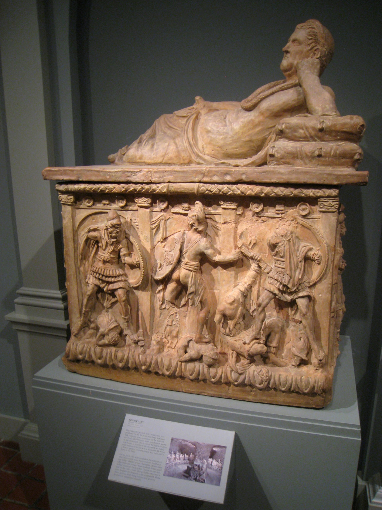 Ancient Etruscan Cinerary Urn, mid-2nd century BC, terracotta. Courtesy & currently located at the Worcester Art Museum, Massachusetts, USA. Photo taken by Daderot