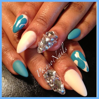 Birthday #nails for my baby Cuzzin.. #matte #opi #essie #nailart #blue #sunday #birthday #girls #pretty #spring #summer #diamonds #brooklyn #nyc #potd #fun #fashion #nailaddicts #nailpolish