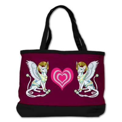 Kitty Bag! This Angels Walk On 4 Paws Shoulder Bag is just one  of many adorable items featuring this artwork which are available in Badhead Gadroon's shop at Cafe Press.