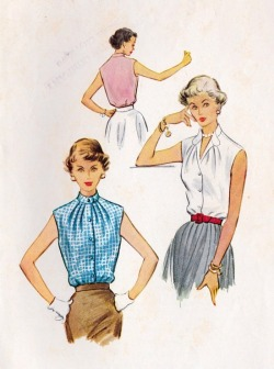 theniftyfifties:  1950s sleeveless blouses - sewing pattern illustration