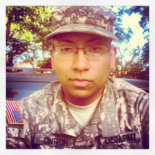 #Army #National #Guard #PFC #Flag #Soldier #Cintron #training #life #uniform #smile
