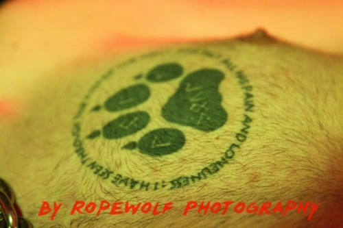 pupkodiak:  Arty shot by big bro Kaz of my paw print. Please don't message me asking if you can copy, the answer will be no. This is my personal mark that is unique to me, if you ask to rip it off you will be told to go fuck yourself. Copying ink isn't cool.  Another piece of my photograpy work :-D