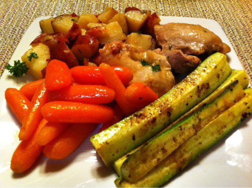 Dinner = Poulet Bonne Femme served with Honey Glazed Carrots, and Roasted Zucchini Spears