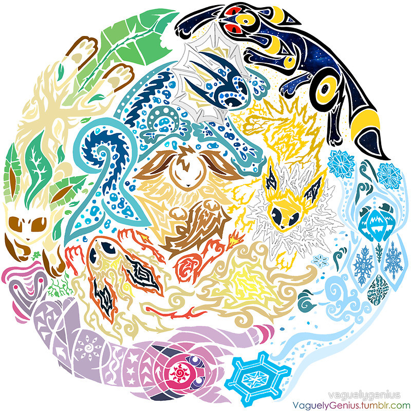 thenintendard:  Tribalish Eeveelutions Made by vaguelygenius