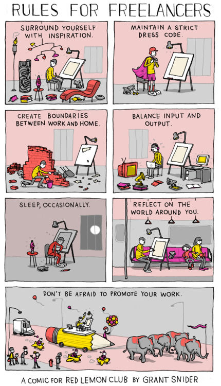 incidentalcomics:  Rules for Freelancers A comic for Red Lemon Club.