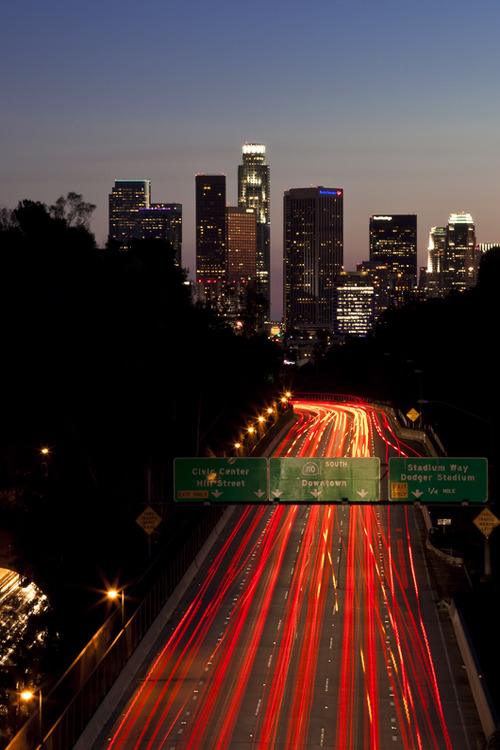 Los Angeles traffic at dusk.