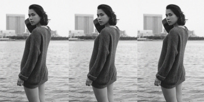 Alice, one of our employees in Japan, wearing the Fisherman's Knit Pullover. May 2013.