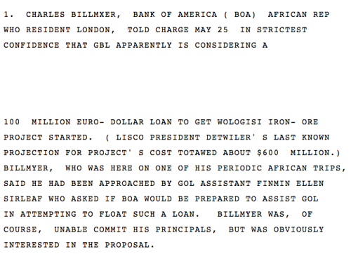 Minor relevations/major footnotes from the Kissinger Cables on Wikileaks. Not only was Ellen Johnson Sirleaf a favorite of American officials long before the Rice Riots of 1979 or Tolbert's assassination a year later, the future president who used her first-term political capital to jettison Liberia's suffocating debt, three decades earlier actively solicited loans for the government of Liberia.