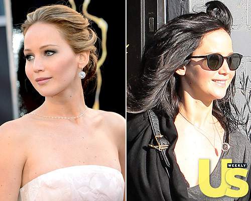 "The day after the Oscars, Jennifer Lawrence dyed her hair dark brown to film more ""Hunger Games"" scenes. Do you like her better as a blonde or a brunette?"