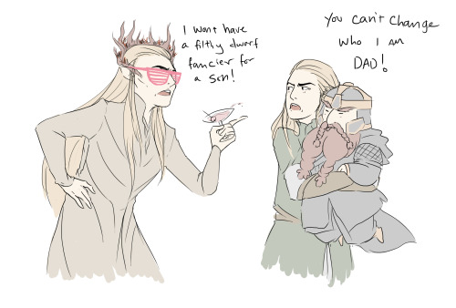 "uncreativeart:  Thranduil just cant deal with Legolas's ""dwarf fancying phase""."