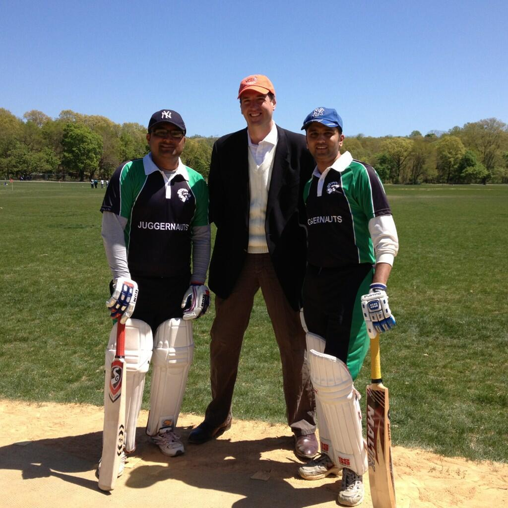 ukinusa:  Deputy Consul General Nick Astbury at the opening of cricket season in New York's Van Cortandt Park on 5 May. The facility is home to an impressive 10 pitches on 30 acres of land.