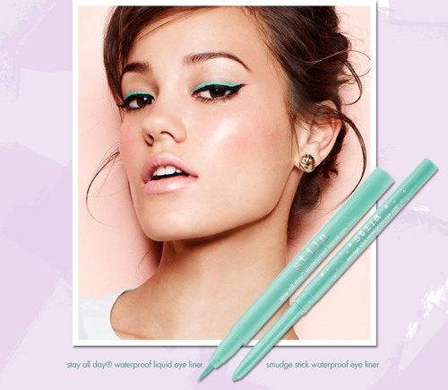 From Stila, trending this season. Turquoise eyeliner. Layering it on top of black liner makes it pop even more. A great idea! ~AG~