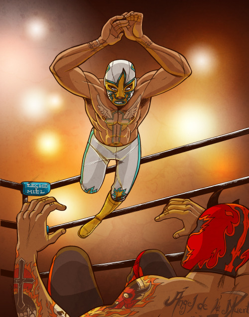 """San Miguel vs El Diablo"", a luchador piece for a local art show. Prints for sale soon! Send a message if you're interested :)"
