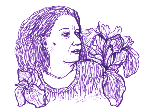 Prompt: floral. Portrait of my mother with irises.