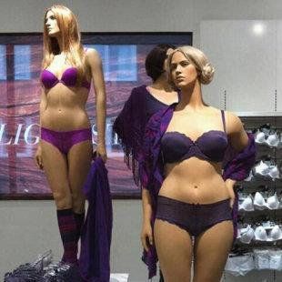 "lovelymisssummer:  Sweden has size 6 & 10 mannequins which reflect a healthy & lovely female form… From Poster:H&M in Sweden introduced these normal-size mannequins. Instead of size 00, these gals are a size 6 and 10. Some are saying they ""condone obesity."" Pfft, the average Canadian woman is a size 12. ""LIKE"" this picture if you think all mannequins should look like this! - Morgan HOT 105.5  that mannequin is so well done I thought it was a model for a second."