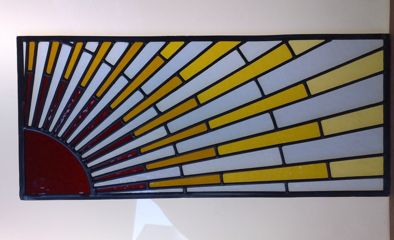 newglassworks:  A commision i did, art deco style sun rays.  This needs to be in my room ASAP