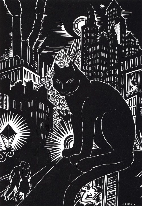Le chat by Frans Masereel, 1955