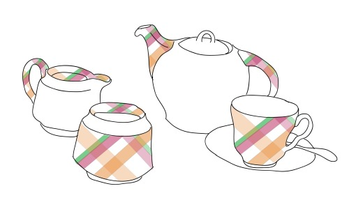 Illustration- Check Tea pot set