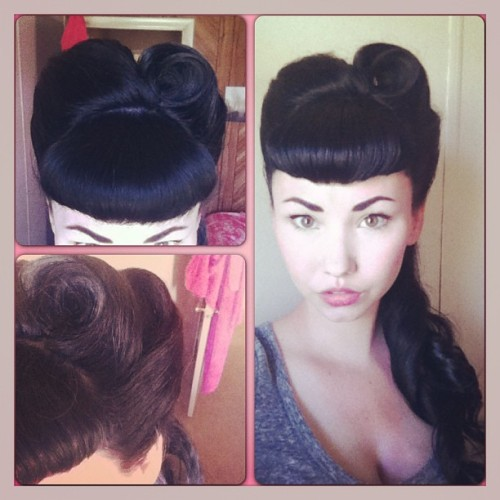 I'm so proud of myself!! I can't believe I did this hair style! Epic pinup hair moment! #pinup #pinups #pinuplife #pinuphair #pincurls #victoryrolls #bettiebangs #rockabillyhair #rockabillygirls