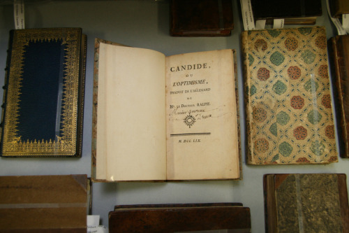 "asplendidaffair:  First editions of Voltaire's ""Candide"" from 1759."