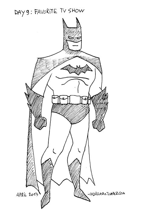 lordrembo:  30 Day Drawing Challenge Day 9: Favorite TV show (Batman: The Animated SeriesCould I have drawn a more dynamic pose? Yes, but I'm tired and this is sortof the iconic pose, so there you have it.)