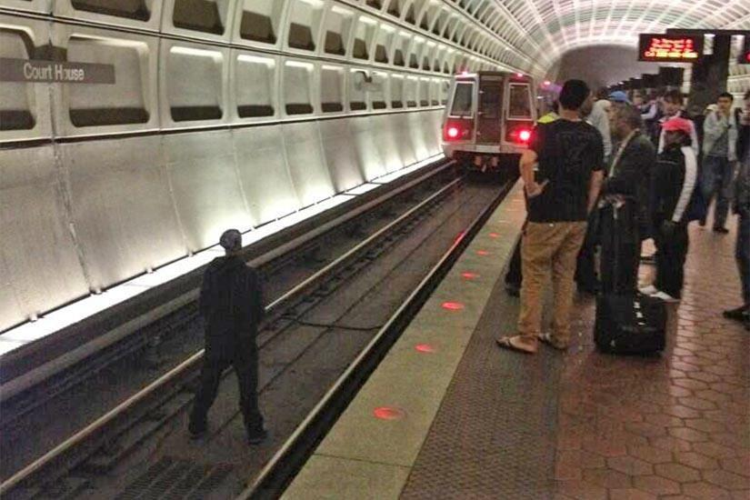 Man Jumps On Metro Tracks, Causes Delays According to ARLnow.com, a man jumped onto the tracks at the Courthouse Metro station at approximately 2:52 p.m. today. The oncoming train had time to stop and the man was not injured. He was later taken to the hospital. Photo via @mikekap3