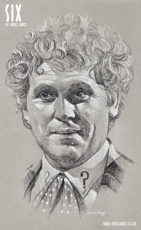 "jameshance:  Latest Doodle - 'Six' (Doctor Who - Charcoal) ""The TARDIS, when working properly, is capable of many amazing things. Not unlike myself."" Humbly presenting your sixth Doctor - which brings me up to date! Five Doctors to go, five days. Thanks for sticking with me :) xMy site / My Facebook / Original Art on eBay"