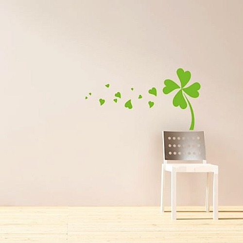 squeedesign:  Light green  Need a cheery St. Patty's Day decoration that looks, but isn't, permanent? Then, we'd recommend this delicate and pretty Run of Luck vinyl wall sticker that adds a whimsical Irish touch without besmirching the integrity of the most stylish modern room. (Read more) Squee: facebook|twitter|signup|
