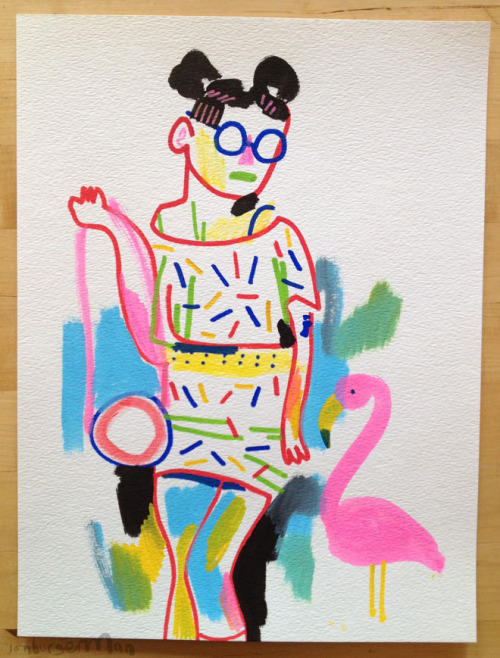 debutart:  Girl with pink flamingo via drawingsofgirlson