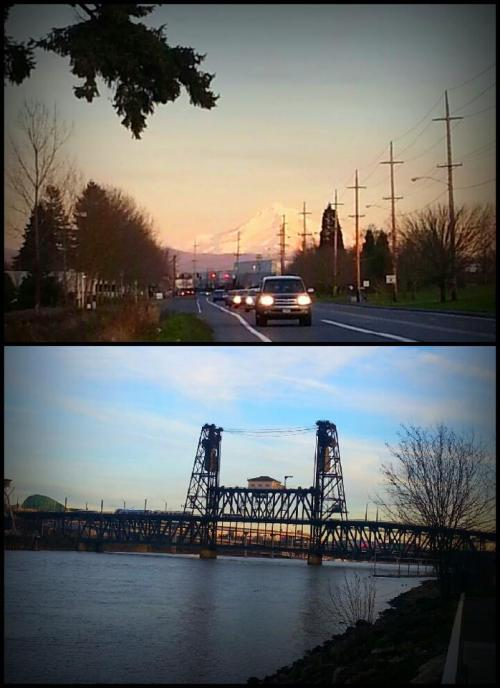 Sandy Blvd & The Steel Bridge. Portland in February