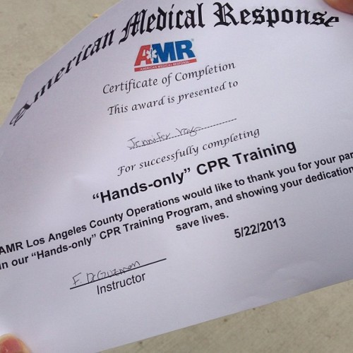 Haha my first certificate in college #imawesome #cpr #handsonly #thasswassup #toocooltotalktoyou #butheyicansaveyourlife #thankme #imsupergirl #jelly #shouldbe (at Citrus College)