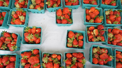 Strawberries at yesterday's market. Lani's Farm. So happy that berry season has begun.