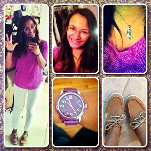 OOTD - Rainy day at work #ootd #outfitoftheday #white #pants #purple #boatshoes #hair #beautiful #beauty #pretty #cute #sweet #glasses #smile #hispanic #latina #boriqua #puertorican