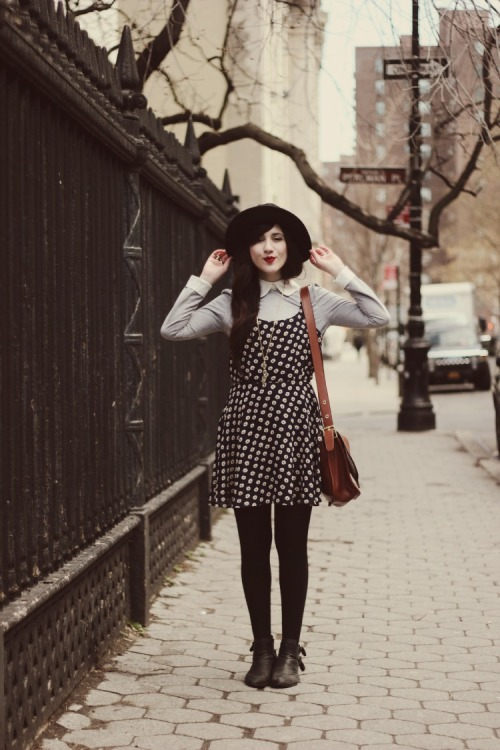 Bonnie of Flashes of Style in a sweet black and white dotted dress.