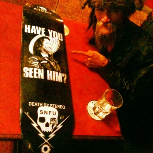 Limited edition #MrChiPig #SNFU #skateboard (only 50* made). Think he likes it?? (cc: @krucoff) (at Pub 340) [*Corrected. I originally thought only 5 were made, but that's how many Chi has to give out himself. 50 were made in total. Holla at me in my ask box if that's something you need in your life badly enough to require details on where it can be purchased.]