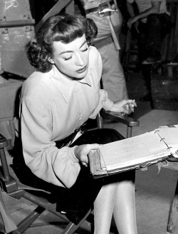 Joan Crawford on the set of Possessed 1947